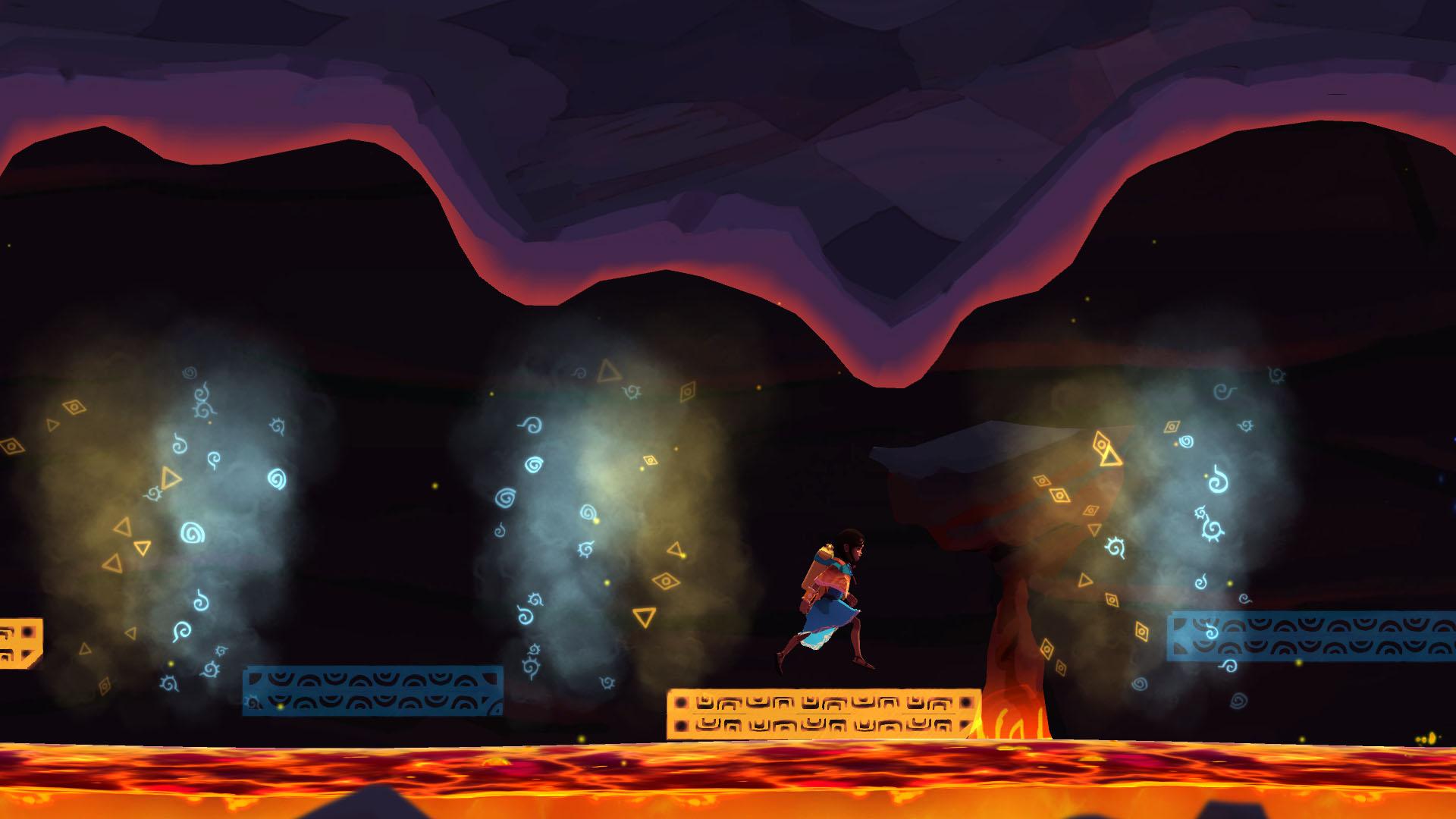 Imagem de Ayo A Rain Tale, jogo indie de plataforma produzido pela Inkline para divulgar o problema da seca na África Subsariana. A imagem mostra uma menina saltando por plataformas coloridas sobre a lava.