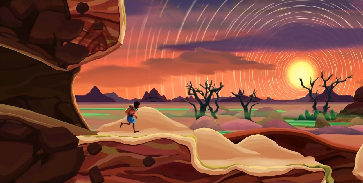 Imagem de Ayo A Rain Tale, jogo indie de plataforma produzido pela Inkline para divulgar o problema da seca na África Subsariana. A imagem mostra uma menina correndo por uma paisagem desértica.