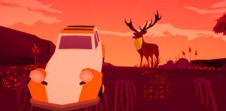 Imagem do jogo Far From Noise, criado por George Batchelor. A imagem mostra um carro pendurado em um penhasco, com um cervo logo ao lado.