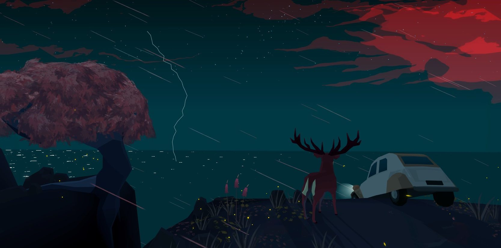 Imagem do jogo Far From Noise, criado por George Batchelor. A imagem mostra um carro pendurado em um penhasco, com um cervo logo ao lado, numa tempestade noturna.