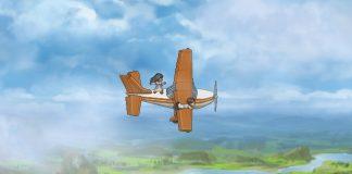 Imagem do jogo Finding Paradise, também conhecido como To the Moon 2, que mostra duas pessoas de jaleco se equilibrando sobre um avião em movimento.