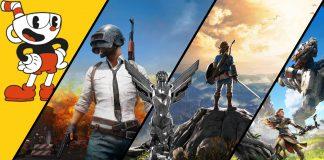 Imagem para o Game Awards 2017 com o prêmio e imagens dos jogos Cuphead, Player Unknown's Battleground, Zelda Breath of the Wild e Horizon Zero Dawn.