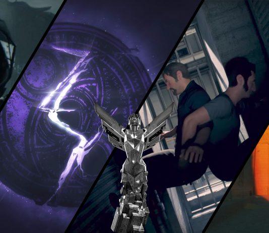 Imagem para o Game Awards 2017 com o prêmio e imagens dos jogos Death Stranding, Bayonetta 3, A Way Out e In the Valley of the Gods, que receberam novidades durante o evento.