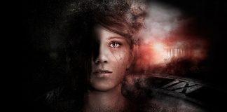 Imagem de divulgação de GET EVEN, thriller psicológico da FArm 51. A imagem mostra o rosto de uma jovem distorcido sobre um fundo preto e vermelho.