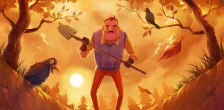 Imagem do jogo de stealth, comédia e horror Hello Neighbor, desenvolvido pela Dynamic Pixels. A imagem mostra um homem de aparência assustadora com uma pá em mãos, na beira de um túmulo ao pôr-do-sol.