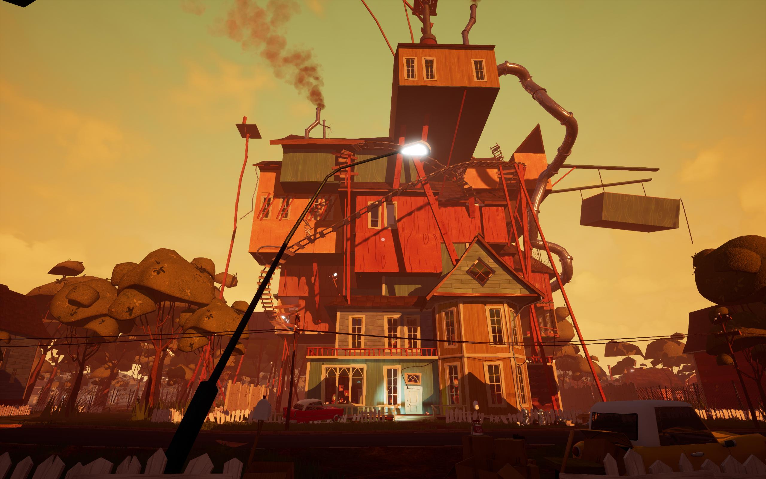 Imagem do jogo de stealth, comédia e horror Hello Neighbor, desenvolvido pela Dynamic Pixels. A imagem mostra uma casa imensa, com muitos puxadinhos.
