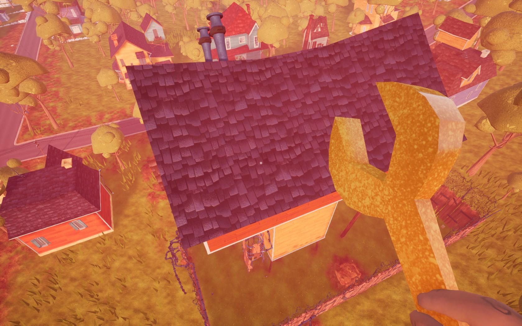 Imagem do jogo de stealth, comédia e horror Hello Neighbor, desenvolvido pela Dynamic Pixels. A imagem mostra o jogador voando acima na casa com uma chave inglesa na mão.