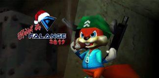 Imagem do especial Natal da Falange 2017 sobre jogos para irritar a família no Natal. A imagem mostra o personagem Conker de A Bad Fur Day, com armas e um charuto.