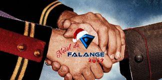 Imagem do especial Natal da Falange 2017 sobre o filme Joyeux Noël. A imagem mostra a logo do evento sobre uma cena de duas mãos em uniformes de guerra se apertando.