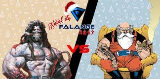 Imagem do especial Natal da Falange 2017 sobre Lobo vs Papai Noel. A imagem mostra Lobo, da DC e Papai Noel divididos por uma barra de vs.