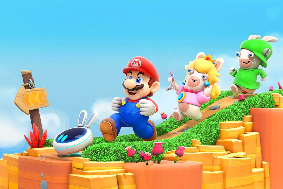 Imagem do jogo Mario + Rabbids Kingdom Battle, da Ubisoft, que mostra o Mario e coelhos lunáticos disfaçados de Peach e Luigi.