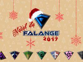 Imagem oficial do Natal da Falange 2017. A imagem tem uma logo da Falange com gorro de Papai Noel, acima da miniatura da imagem de todas as personagens da equipe.