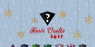 Imagem oficial do Herói Oculto 2017, evento que faz parte do Natal da Falange 2017. A imagem tem uma logo da Falange escura e com uma interrogação, acima da miniatura da imagem de todas as personagens da equipe.
