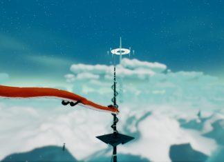 Imagem do jogo Oure, que mostra um dragão voando nas nuvens em direção a uma torre negra.