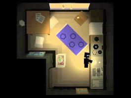 Imagem do jogo Please Knock on My Door, da Levall Games. A imagem mostra um apartamento, visto de cima, formado por quadrados, onde uma personagem lava louça.