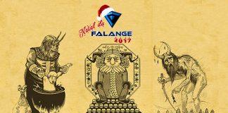 Imagem do especial Natal da Falange 2017 sobre animações natalinas. A imagem mostra a logo do evento sobre um desenho do filme Rare Exports, com representações de Krampus, a versão do Papai Noel que pune crianças mal educadas.