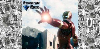 Imagem da semana 1 da Retrospectiva Marvel, sobre o filme Homem de Ferro (ou Iron Man). Na imagem se vê o Homem de Ferro em sua armadura, a logo da Retrospectiva Marvel e a logo do filme Vingadores: Guerra Infinita (ou Avengers: Infinity Wars), com o número de semanas que faltam até sua estreia.