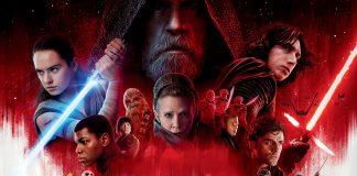 Cartaz de Star Wars VIII Os Últimos Jedi ou The Last Jedi. O cartaz mostra todas as personagens principais do filme em um painel branco e vermelho.