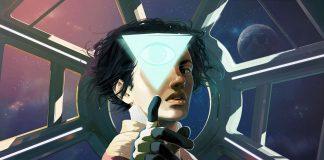 Imagem do jogo Tacoma, jogo da Fullbright, a desenvolvedora de Gone Home. A imagem mostra uma mulher tocando em um holograma triangular.