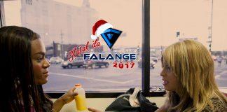 Imagem do especial Natal da Falange 2017 sobre o filme Tangerine. A imagem mostra a logo do evento sobre uma cena de duas mulheres em uma lanchonete.