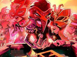 Imagem de divulgação do jogo The Sexy Brutale, da Tequila Works. A imagem mostra um desenho de vários personagens excêntricos de máscaras na frente de uma mesa de cassino.