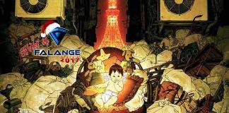 Imagem do especial Natal da Falange 2017 sobre animações natalinas. A imagem mostra a logo do evento sobre uma cena do filme de animação Tokyo Godfathers, em que um bebê se encontra em meio a sacos de lixo. No fundo, é possível ver a Tokyo Tower.