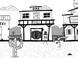 Imagem do jogo West of Loathing, da Asymmetric Publications. A imagem mostra uma cidade de Velho Oeste com personagens de palito e desenhos de rabiscos.