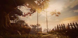 Imagem do jogo What Remains of Edith Finch, da Giant Sparrow. A imagem mostra um balanço pendurado em uma árvore num quintal.