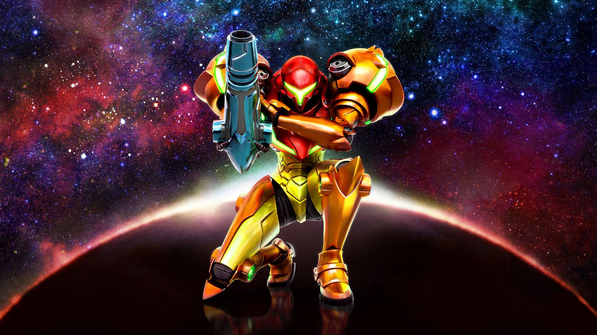 Imagem do jogo Metroid: Samus Returns, da Nintendo, que mostra a personagem Samus Aaran em sua armadura.