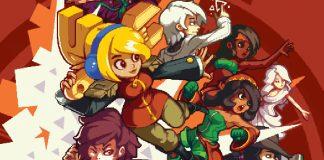 Imagem de divulgação do jogo Iconoclasts, que mostra as personagens do jogo amontoados sobre um fundo vermelho. O metroidvania foi criado por Konjak.