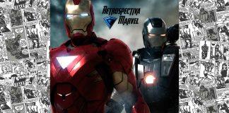 Imagem da semana 3 da Retrospectiva Marvel, sobre o filme Homem de Ferro 2 (ou Iron Man 2). Na imagem se vê o Homem de Ferro, o Máquina de Guerra, a logo da Retrospectiva Marvel e a logo do filme Vingadores: Guerra Infinita (ou Avengers: Infinity Wars), com o número de semanas que faltam até sua estreia.
