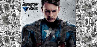 Imagem para Capitão América O Primeiro Vingador mostra Chris Evans caracterizado como o personagem-título e segurando seu escudo que simula a bandeira dos Estados Unidos