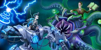 Imagem de divulgação do jogo Tesla vs Lovecraft, da 10Tons. A imagem mostra Nikola Tesla em um robô de um lado, e Lovecraft com o Necronomicon na mão sobre uma aberração do outro.