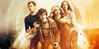 Imagem de divulgação da série The Gifted, que se passa no universo dos X-Men. A imagem mostra a família Strucker sobre um fundo amarelo.