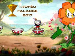 Imagem do Troféu Falange 2017 sobre a categoria dos Melhores Jogos Independentes de 2017. A imagem mostra Cuphead batalhando contra flor antropomórfica.