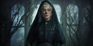 Imagem de divulgação do filme A Maldição da Casa Winchester, com Helen Mirren usando um véu negro sobre um fundo escuro.