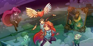 Imagem de divulgação do jogo plataforma Celeste, criado por Matt Thorson. A imagem mostra uma jovem ruiva pulando em direção a um morango com asas.