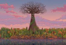 Imagem do jogo Legendary Gary, um RPG criado por Evan Rogers. A imagem mostra uma grande árvore no meio de uma floresta.