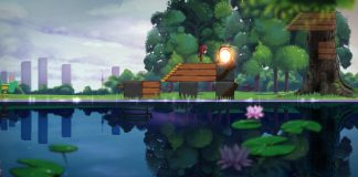 Imagem do jogo de puzzle plataforma Samsara. A imagem mostra uma paisagem refletida de forma incompleta em um lago.