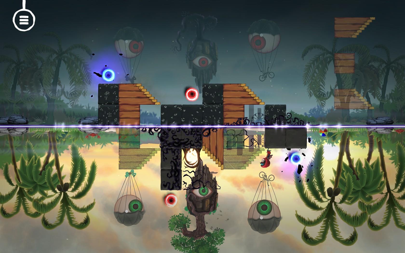 Imagem do jogo de puzzle plataforma Samsara. A imagem mostra uma paisagem refletida de forma incompleta em um lago com blocos e portais espalhados pelo cenário.