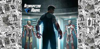 Imagem para Homem de Ferro 3 mostra Tony Stark (Robert Downey Jr) de costas para a câmera e no centro. Dos lados, duas armaduras diferentes do Homem de Ferro.