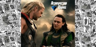 Imagem para Thor: O Mundo Sombrio, parte 8 da Retrospectiva Marvel, mostra o próprio Thor (Chris Hemsworth) frente a frente com o irmão, Loki (Tom Hiddleston), que está algemado.